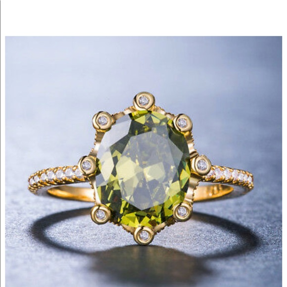 18 K Gold Plated Green Peridot Cocktail Ring New